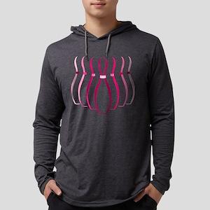 Pink Bowling Pins Mens Hooded Shirt