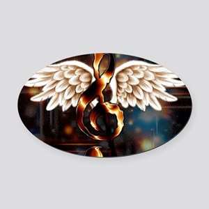 Angelic Music Oval Car Magnet