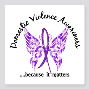 "Domestic Violence Butter Square Car Magnet 3"" x 3"""