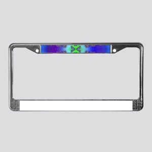 blue psychedelic cross License Plate Frame