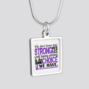 Fibromyalgia HowStrongWeAr Silver Square Necklace