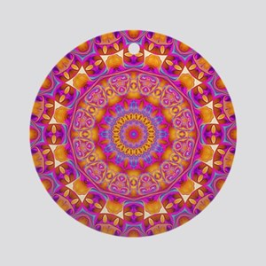 Trippy Hippy   v6 Geometric Manda Ornament (Round)