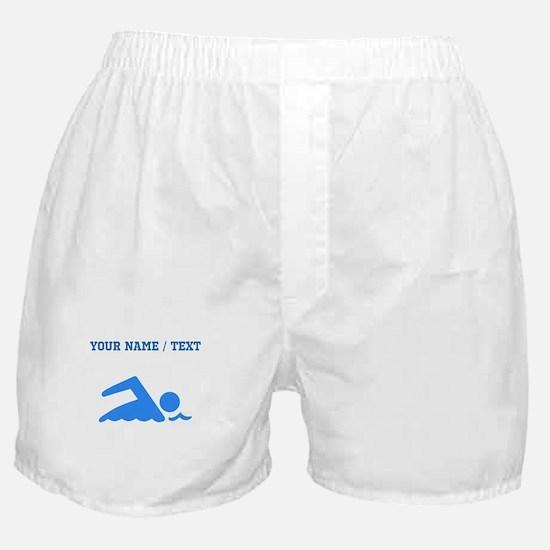 Custom Blue Swimmer Boxer Shorts