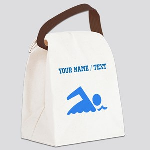 Custom Blue Swimmer Canvas Lunch Bag