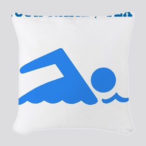 Custom Blue Swimmer Woven Throw Pillow