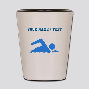 Custom Blue Swimmer Shot Glass