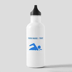 Custom Blue Swimmer Water Bottle