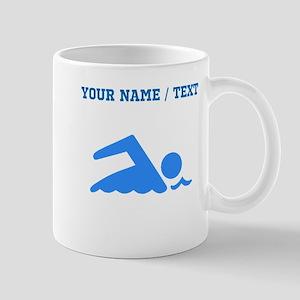 Custom Blue Swimmer Mugs