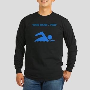 Custom Blue Swimmer Long Sleeve T-Shirt