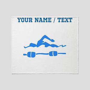 Custom Blue Swimmer Throw Blanket
