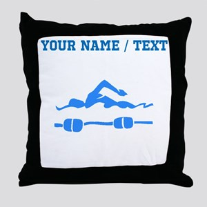 Custom Blue Swimmer Throw Pillow
