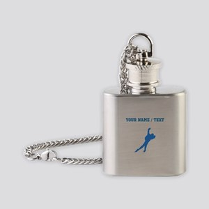 Custom Blue Speed Skater Silhouette Flask Necklace