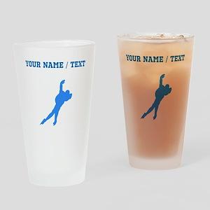Custom Blue Speed Skater Silhouette Drinking Glass