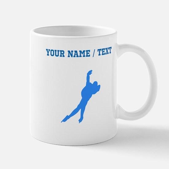 Custom Blue Speed Skater Silhouette Mugs
