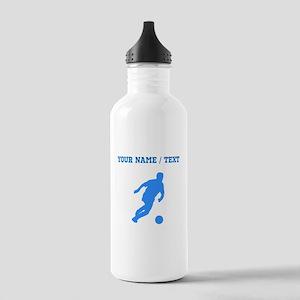 Custom Blue Soccer Player Silhouette Water Bottle