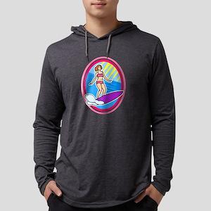 Surfer Girl Mens Hooded Shirt