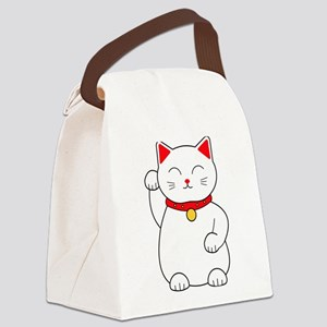 White Lucky Cat Right Arm Raised Canvas Lunch Bag