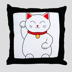 White Lucky Cat Right Arm Raised Throw Pillow
