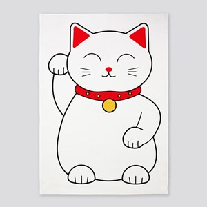 White Lucky Cat Right Arm Raised 5'x7'Area Rug