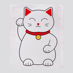 White Lucky Cat Right Arm Raised Throw Blanket