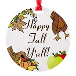 Happy Fall YAll Autumn Thanksgiving Ornament