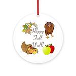 Happy Fall YAll Autumn Thanksgiving Ornament (Roun