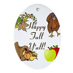 Happy Fall YAll Autumn Thanksgiving Ornament (Oval