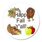 Happy Fall YAll Autumn Thanksgiving Round Car Magn