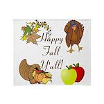 Happy Fall YAll Autumn Thanksgiving Throw Blanket
