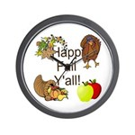 Happy Fall YAll Autumn Thanksgiving Wall Clock