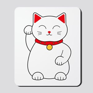 White Lucky Cat Right Arm Raised Mousepad