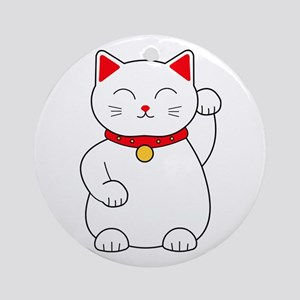White Lucky Cat Left Arm Raised Ornament (Round)