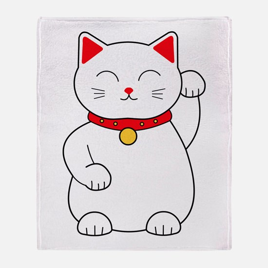 White Lucky Cat Left Arm Raised Throw Blanket