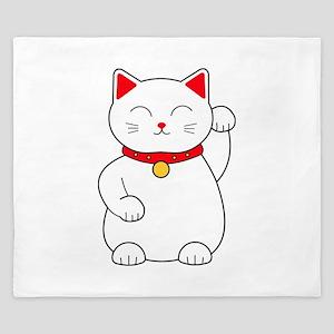 White Lucky Cat Left Arm Raised King Duvet