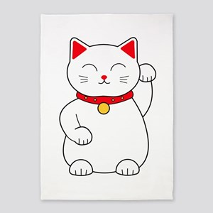 White Lucky Cat Left Arm Raised 5'x7'Area Rug