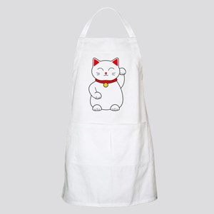 White Lucky Cat Left Arm Raised Apron