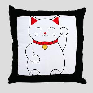 White Lucky Cat Left Arm Raised Throw Pillow