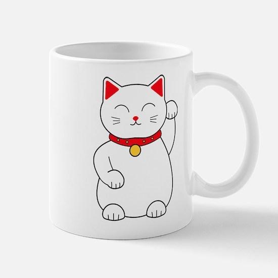 White Lucky Cat Left Arm Raised Mug