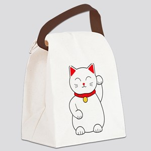White Lucky Cat Left Arm Raised Canvas Lunch Bag
