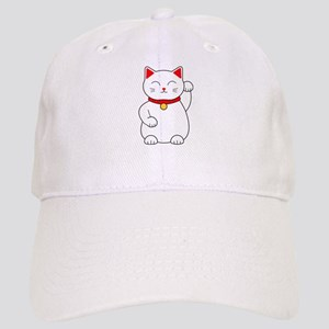 White Lucky Cat Left Arm Raised Cap