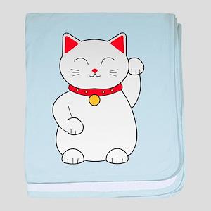 White Lucky Cat Left Arm Raised baby blanket