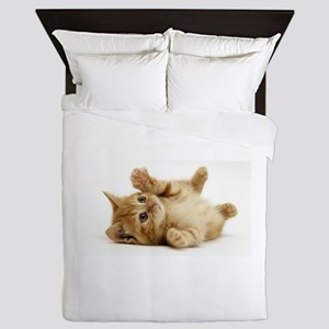Orange kitten Queen Duvet