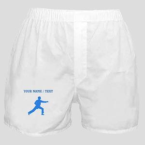 Custom Blue Karate Punch Silhouette Boxer Shorts