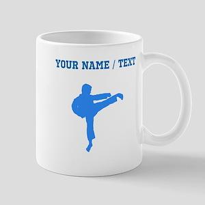 Custom Blue Karate Kick Silhouette Mugs