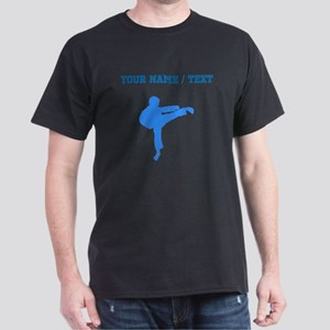 Custom Blue Karate Kick Silhouette T-Shirt