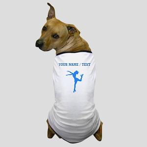 Custom Blue Figure Skate Silhouette Dog T-Shirt