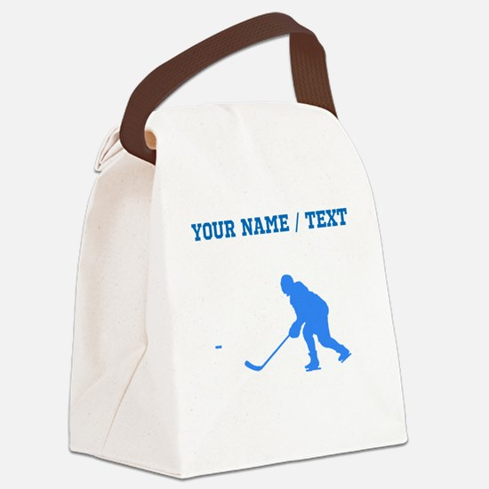 Custom Blue Hockey Player Silhouette Canvas Lunch