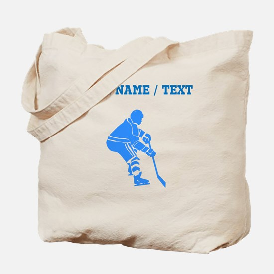 Custom Blue Hockey Player Tote Bag