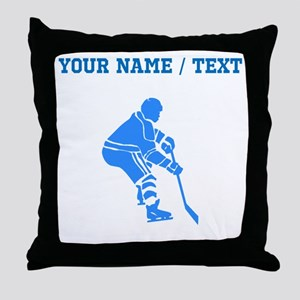 Custom Blue Hockey Player Throw Pillow