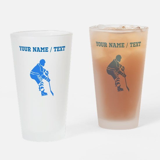 Custom Blue Hockey Player Drinking Glass